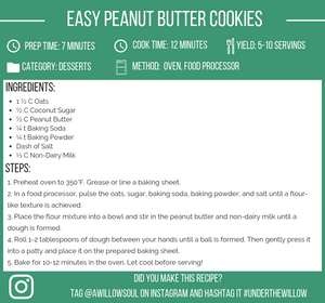 Easy Vegan Peanut Butter Cookies Recipe Card