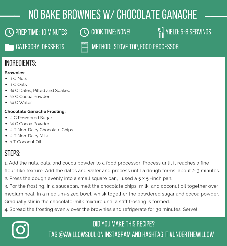 No bake Vegan Brownies with Chocolate Ganache Frosting Recipe Card