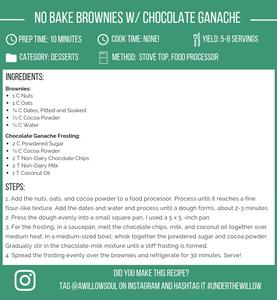 No bake Vegan Brownies with Chocolate Ganache Frosting Recipe Card