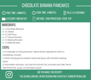 Chocolate Banana Pancakes Recipe Card