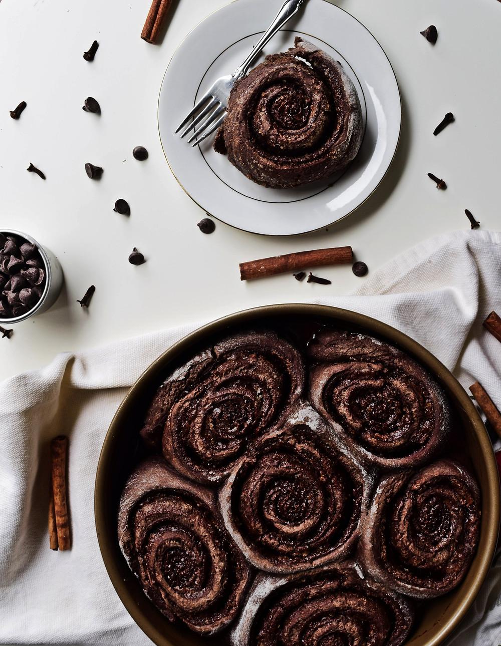 Vegan Chocolate Cinnamon Rolls