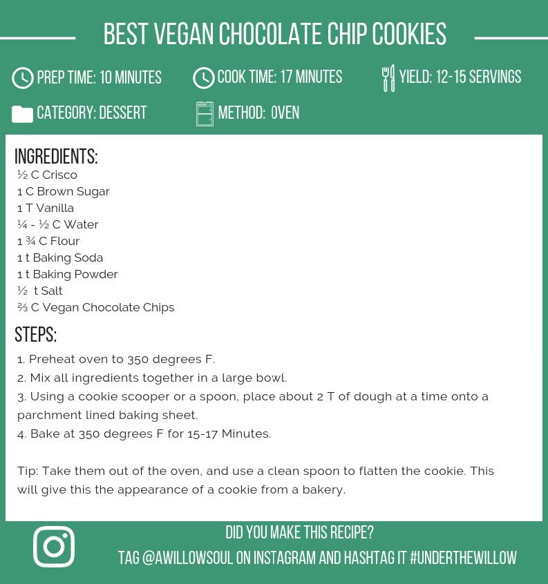 Best Vegan Chocolate Chip Cookies Recipe Card