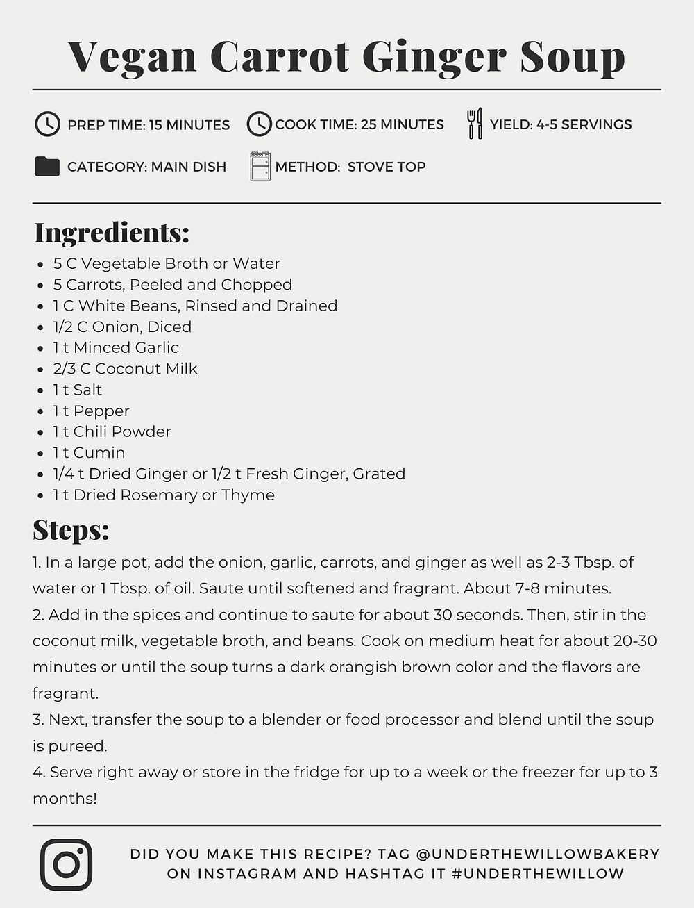 Vegan Carrot Ginger Soup Recipe Card