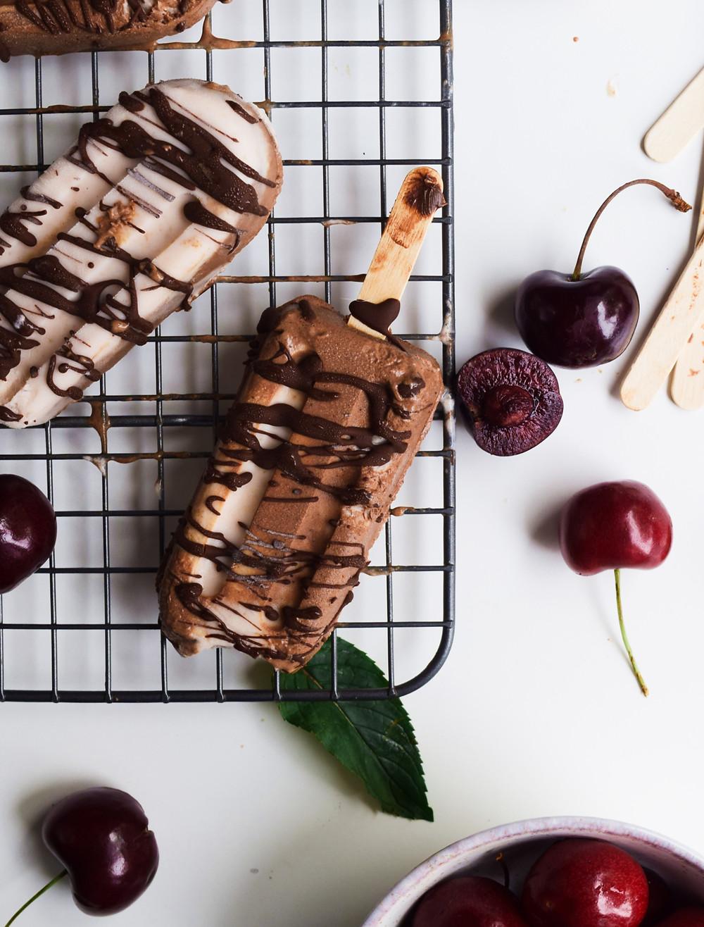 Vegan Cherry Fudge Popsicles