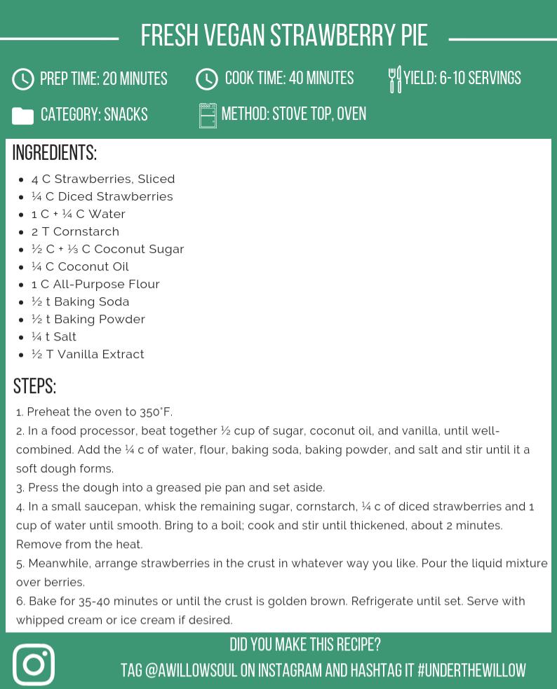 Fresh Vegan Strawberry Pie Recipe Card