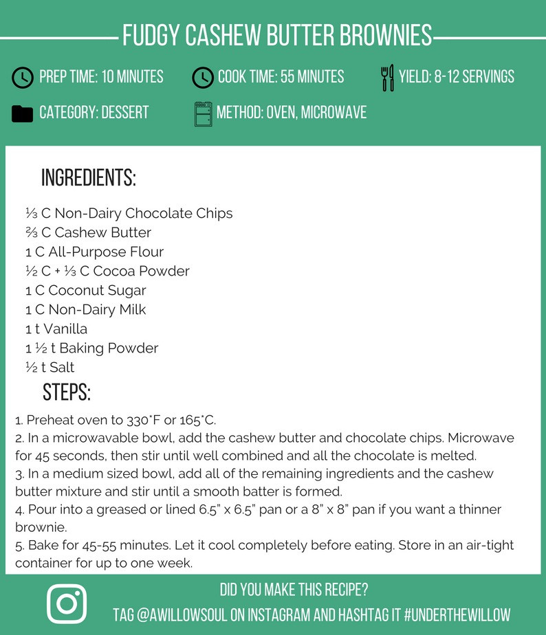 Fudgy Cashew Butter Brownies Recipe Card