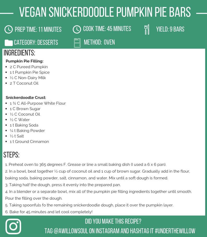 Vegan Snickerdoodle Pumpkin Pie Bars Recipe Card