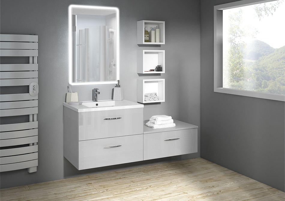 Salle de bain blanc / gris clair