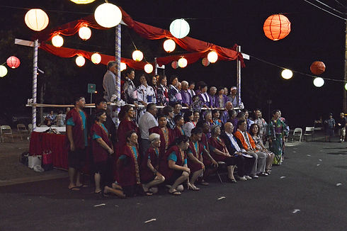 fresno gumyo taiko members and obon odori participants at visalia obon 2014