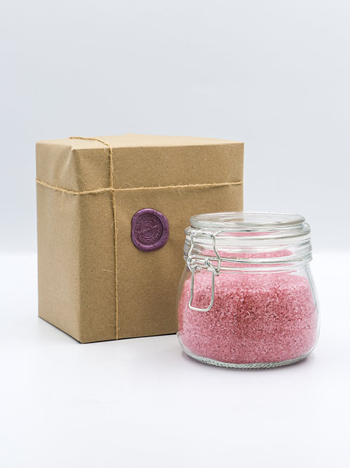 Glass Jar of Rose Geranium Essential Oil Bath Salts
