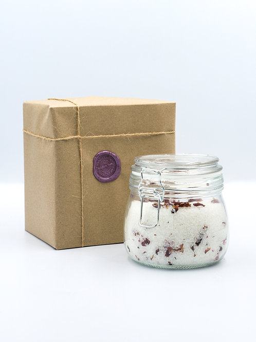 Glass Jar of Rose & Ylang Bath Salts