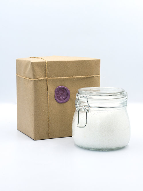 Glass Jar of Coconut & Almond Bath Salts