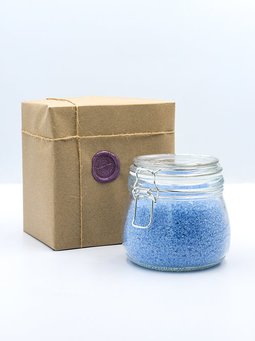 Glass Jar of Blue Bay Rum Bath Salts