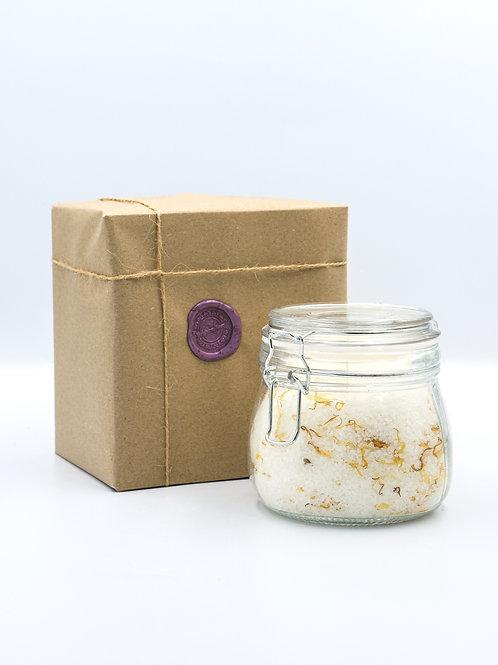 Glass Jar of Sicilian Lemon & Calendula Bath Salts