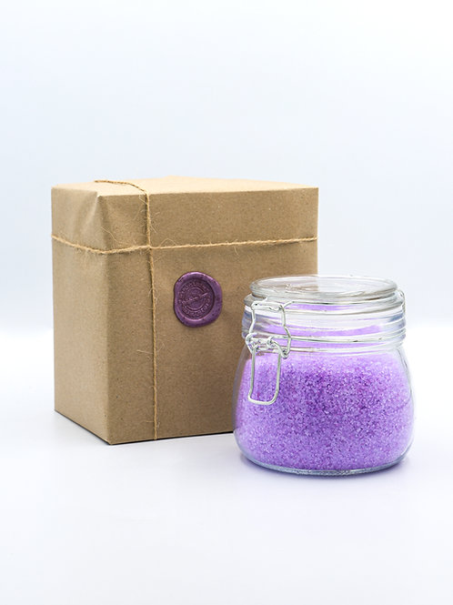Glass Jar of Lavender Essential Oil Bath Salts