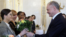 President Kiska Celebrates International Women's Day with 10 Women at a palace luncheon.
