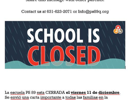 PS 89 CLOSED on December 11th!