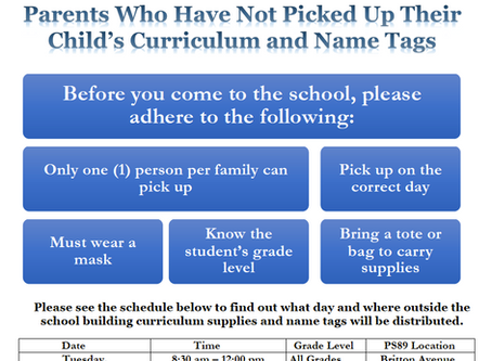 School Supplies and Student ID Pickup