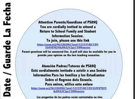 Virtual Parent Meeting to Discuss Reopening!