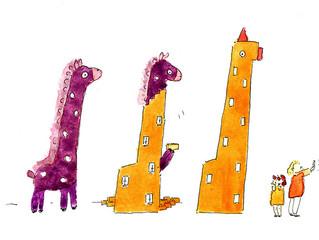 Purple Giraffe and Orange Skyscraper