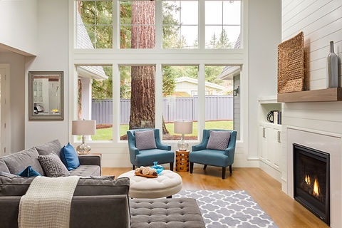 Beautiful furnished living room with har