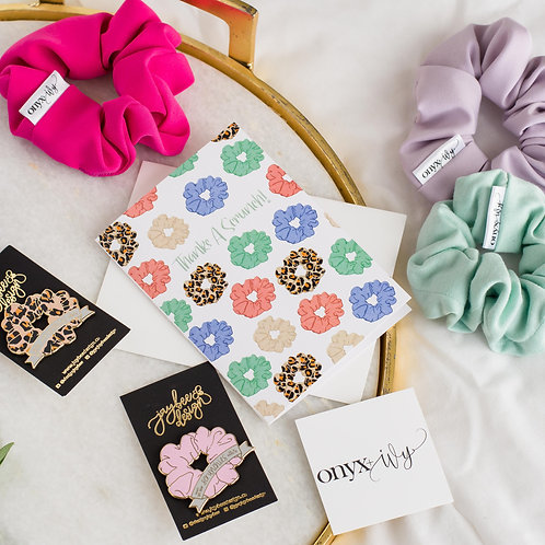 Scrunchie/Pin/Card Set - Collab w/ Jaybee Designs