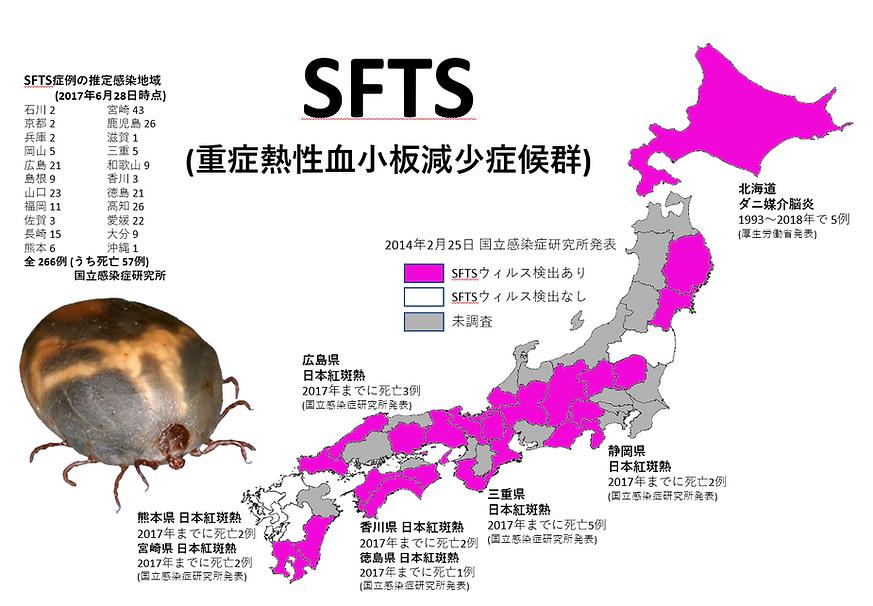 SFTSウィルスを持ったマダニ分布.png