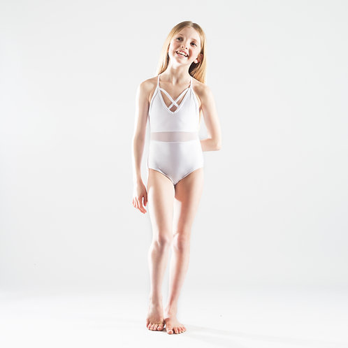White Cross Strap Mesh Leotard