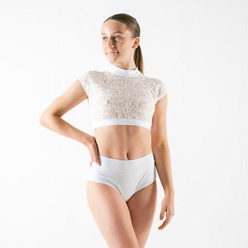 White Lace Crop & Briefs Set