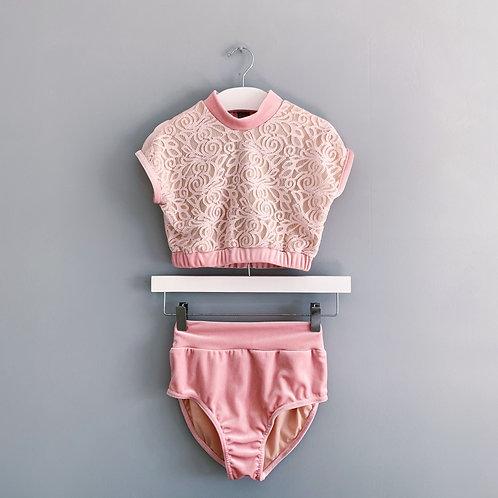 Blush Velvet Lace Crop & Briefs Set
