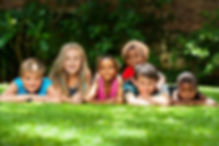 Diversity portrait of children laying to