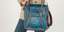 Leather shoulder bag blue leather handbag for women laptop bag