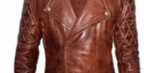 Brown-Faux Leather Classic Diamond Motorcycle Biker Distressed Vintage Jacket-Fo