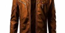 Men Mustard Faux Leather Jacket