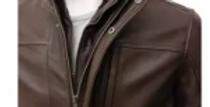 Brown-Faux Leather Cotie Coat Jacket-For Men