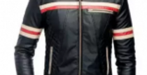 Black-Faux Leather Red And White Striped Motorcycle Jacket-For Men