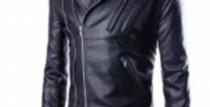 Black Faux Leather Jacket for Men