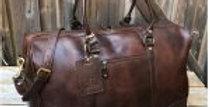 21″ Leather Travel Duffel Bag, Full Grain Leather Weekender Gym Overnight Luggag