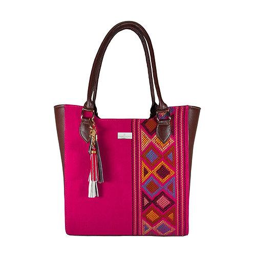 Karmina Pink & Brown Leather Tote