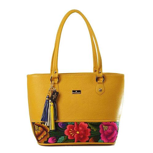 Leather Tote Marina Yellow