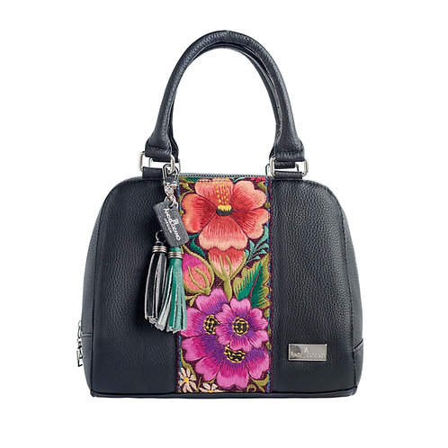 Elsa Satchel Black Leather