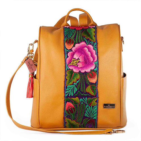 Leather Backpack Maria Yellow