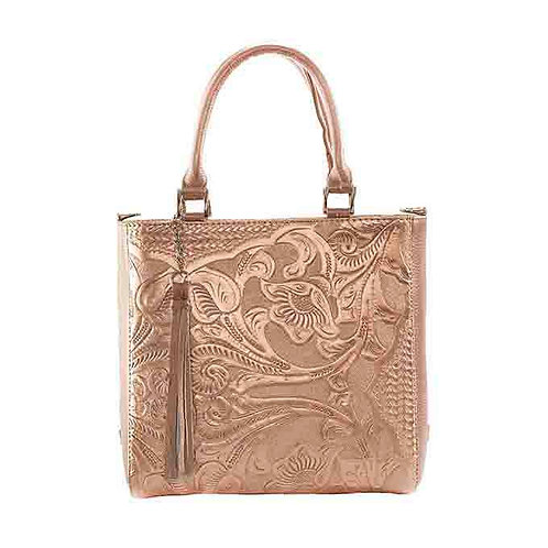 Pilar Leather Handbag Pink-Gold