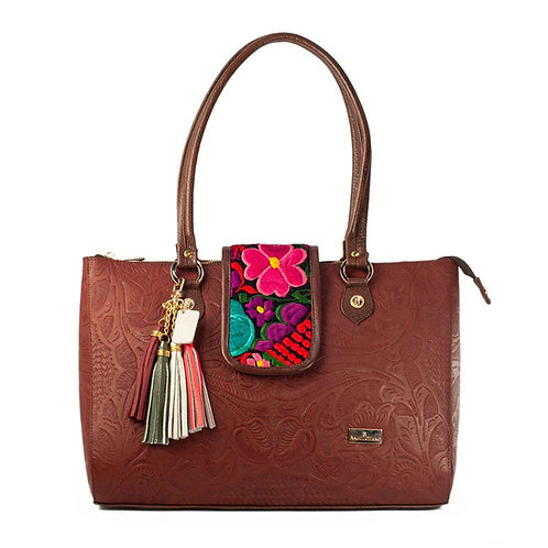 Flora Brown Large Leather Handbag