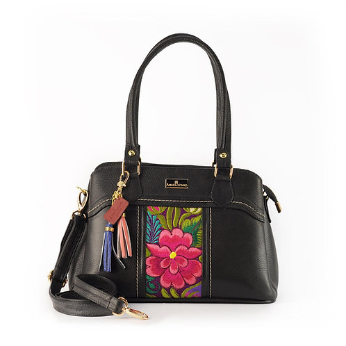 Angela Satchel Bag Black Embroidery