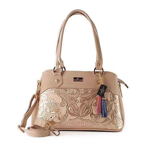Angela Pink-Gold Leather Handbag