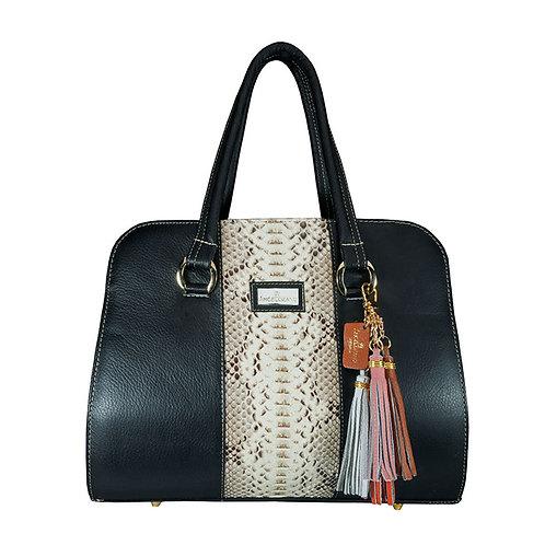 Camila Python Black Leather Bag