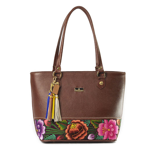 Leather Tote Marina Brown