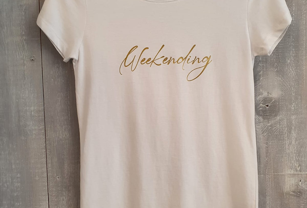 Weekending Tee - White with Gold Print