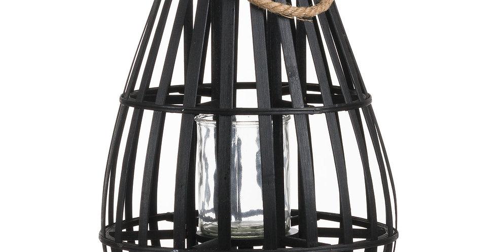 Medium Floor Standing Domed Wicker Lantern With Rope Detail